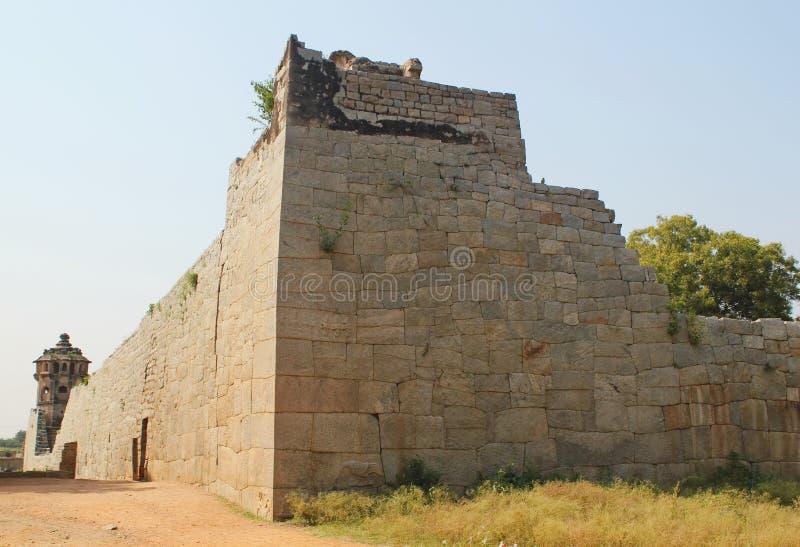 Ruined Fort Wall of Indian kingdom, Hampi stock photo