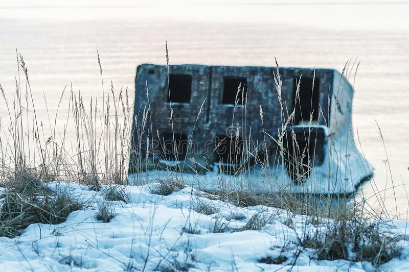 Ruined forts in winter. On a cold winter day, the collapsed forts have been frozen royalty free stock images