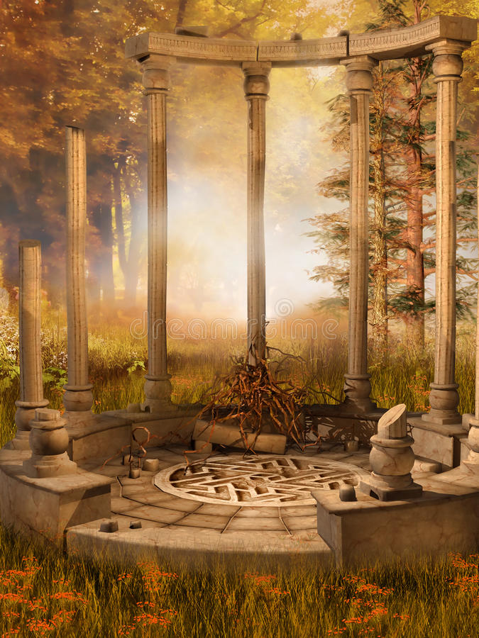 Ruined gazebo in autumnal forest stock illustration