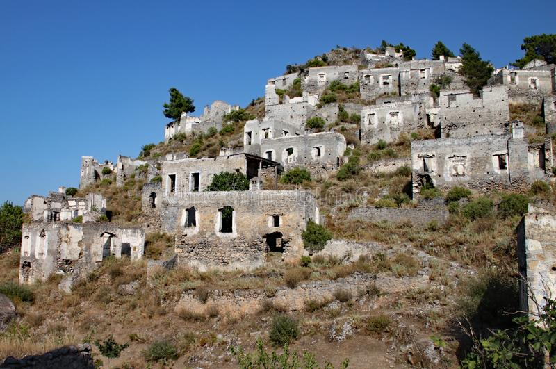 Ruined hill village in Turkey which has been unoccupied for decades stock photos