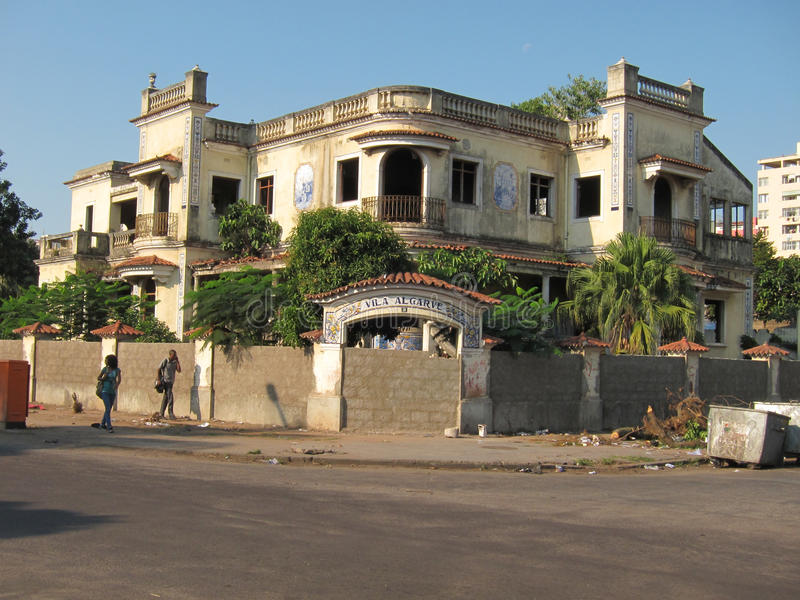 Ruined house in Maputo, Mozambique, Africa. The picture was taken in the center of Maputo, Mozambique, Africa and represents an old pension that was abandoned royalty free stock images