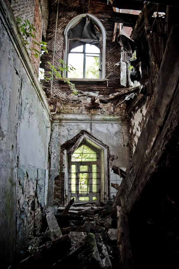 Ruined interior of an abandoned mansion of Khvostov in gothic style, Lipetsk reg stock image