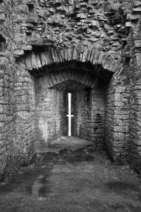 Ruined medieval castle defensive arrow slit stock photos