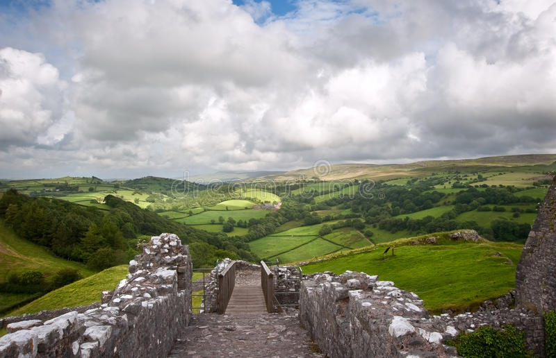 Ruined medieval castle landscape with dramatic sky stock photos