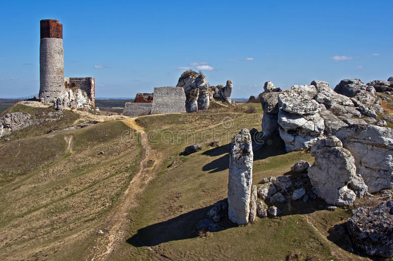Download Ruined Medieval Castle With Tower In Olsztyn Stock Photo - Image: 24252580