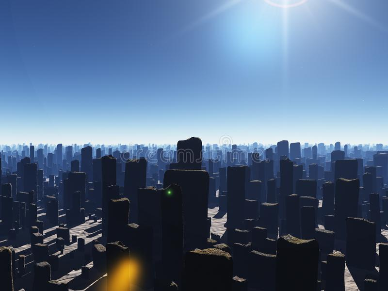 Ruined megapolis. Armageddon. Ruined megapolis. 3D rendering royalty free illustration