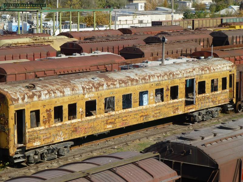 Ruined old railway carriage. stock photography