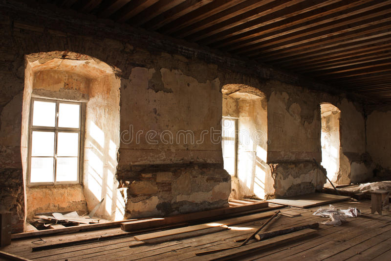 Ruined old room stock image
