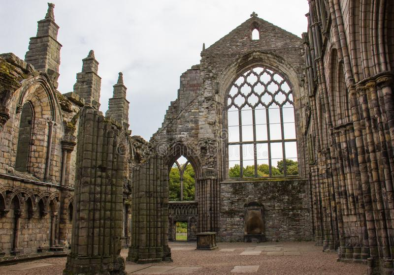 The Ruined Remains of an Abbey. The remains of an attached Abbey to Holyrood Palace in Edinburgh, Scotland stock photos