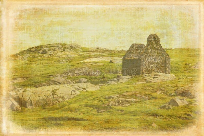 Ruined stone church. Dalkey island. Ireland royalty free stock image
