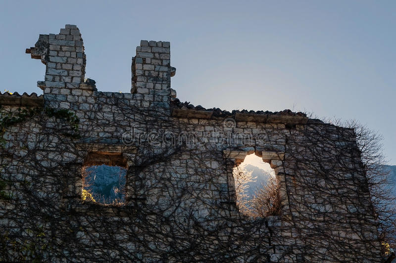 Download Ruined stone house stock photo. Image of kotor, window - 33200196