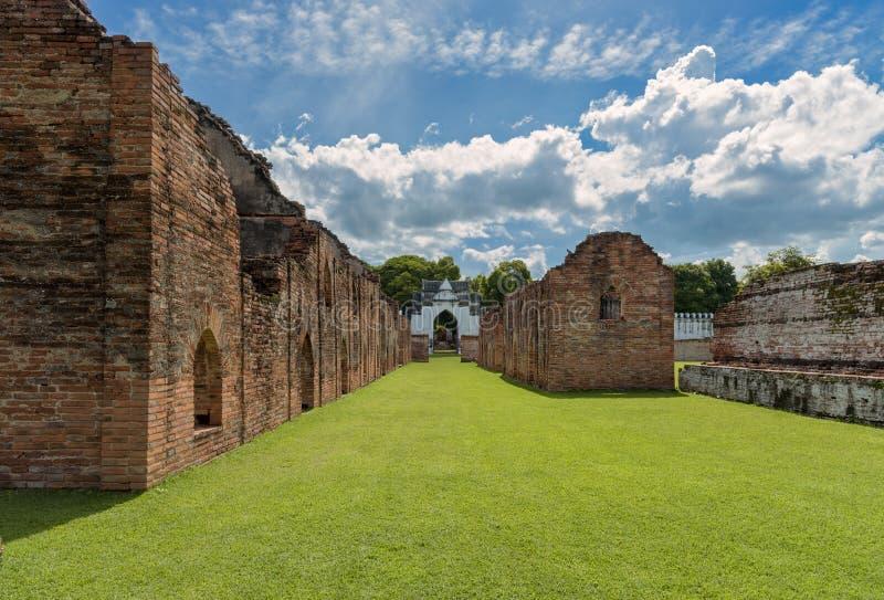 The ruined storage buildings of King Narai`s palace of Ayutthaya Kingdom royalty free stock images