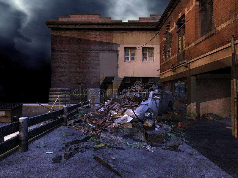 Download Ruined street at night stock illustration. Image of city - 27103458
