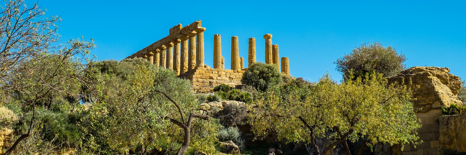 Ruined Temple of Heracles columns in ancient Valley of Temple, Agrigento, Sicily royalty free stock images