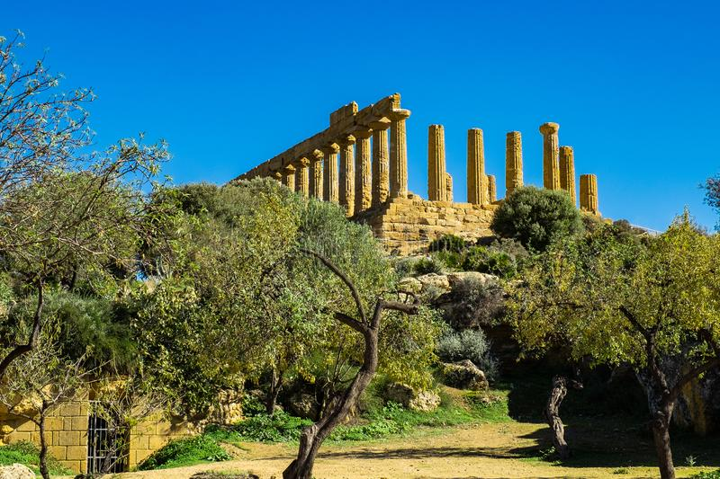 Ruined Temple of Heracles columns in ancient Valley of Temples, Agrigento stock image