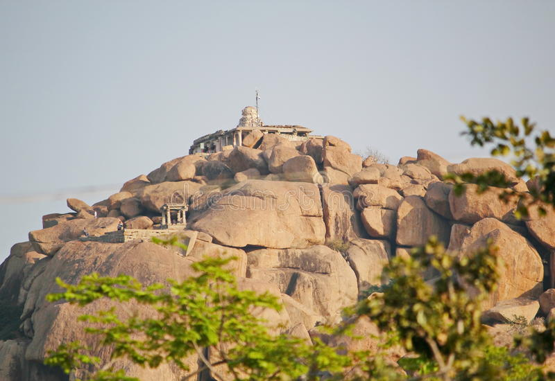 Ruined temple on a mountain, Hampi,India royalty free stock photo