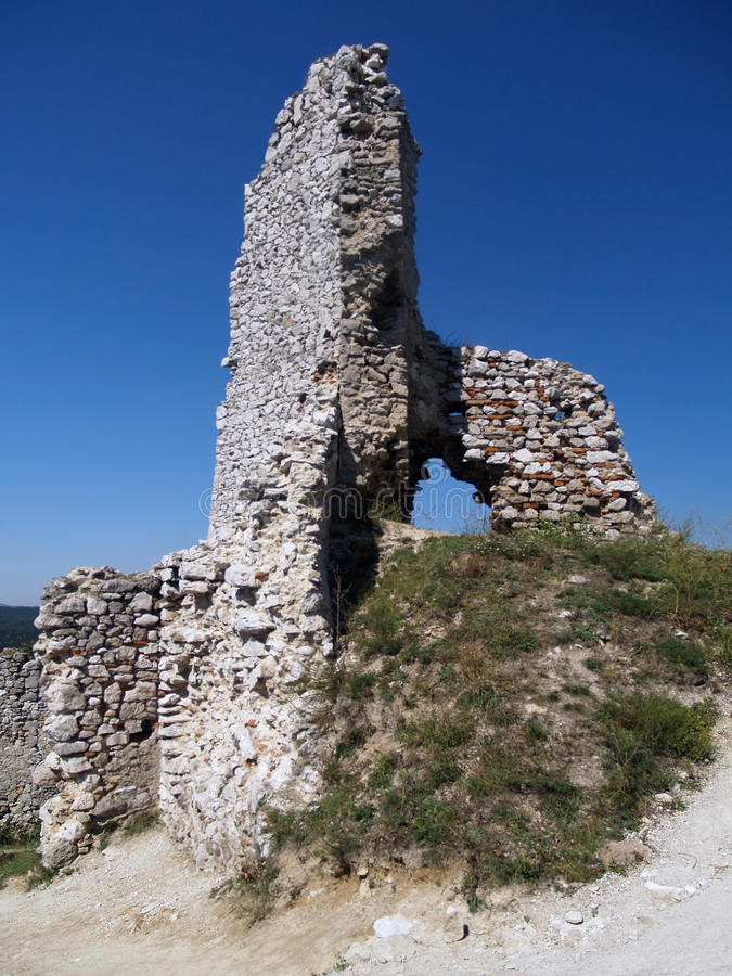 Ruined tower at Cachtice castle, Slovakia royalty free stock images