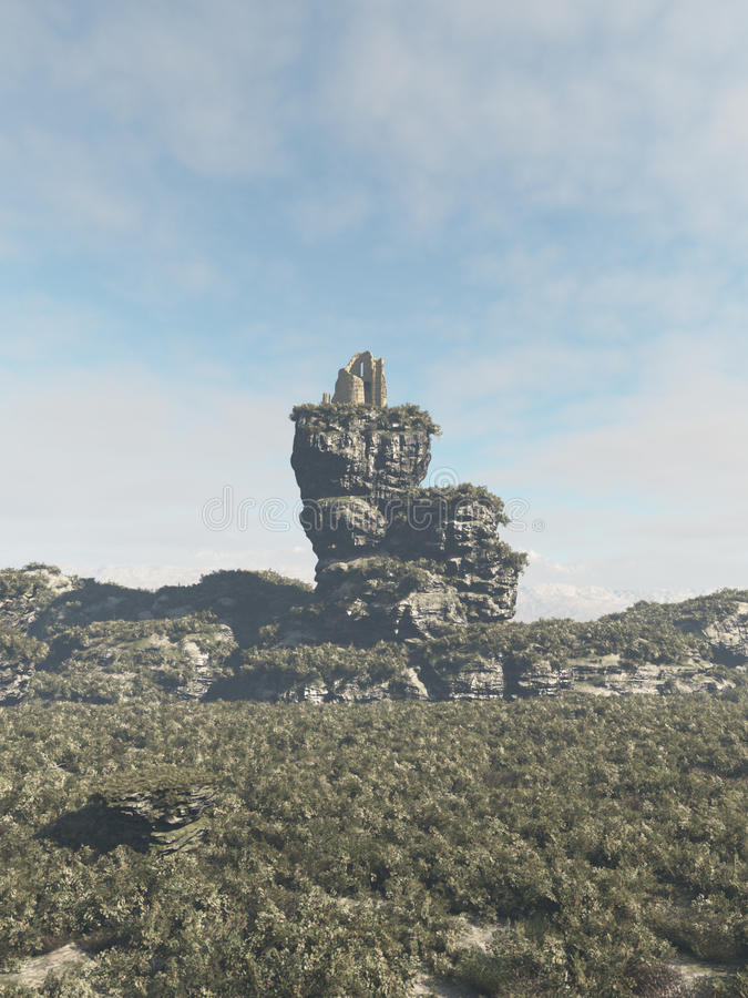 Ruined Tower on a Rocky Outcrop vector illustration