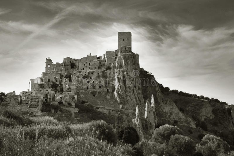 Ruined village of Craco. In Basilicata, south of Italy, abandoned in 1963 for a landslide of vast proportions