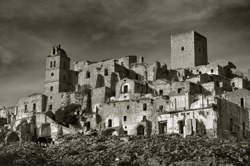 Ruined village of Craco. In Basilicata, south of Italy, abandoned in 1963 for a landslide of vast proportions stock photography