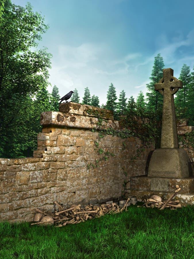 Medieval cemetery vector illustration