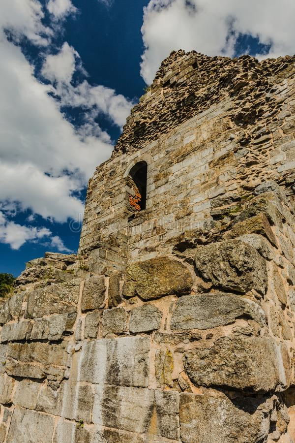 Free Ruined Wall Of Oldest Stone Castle In Czech Republic Stock Image - 156382231