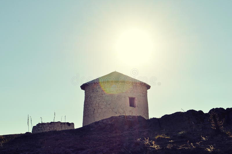 Ruined windmills in Bodrum. Gumbet hill royalty free stock images