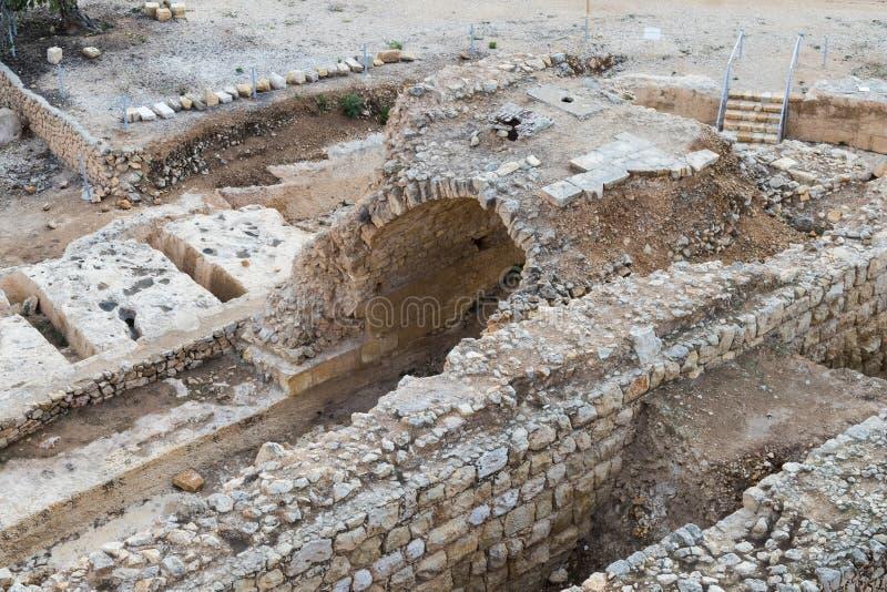 Ruinen auf dem Gebiet des Grabs von Samuel - der Prophet Auch gefunden in Al-Nabi Samuil - palästinensisches Dorf I An-Nabi Samwi lizenzfreie stockfotografie
