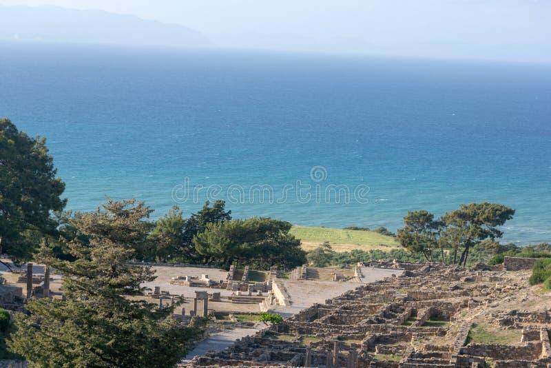 Ruinen der alten Akropolises von Kamiros auf Rhodos lizenzfreies stockbild