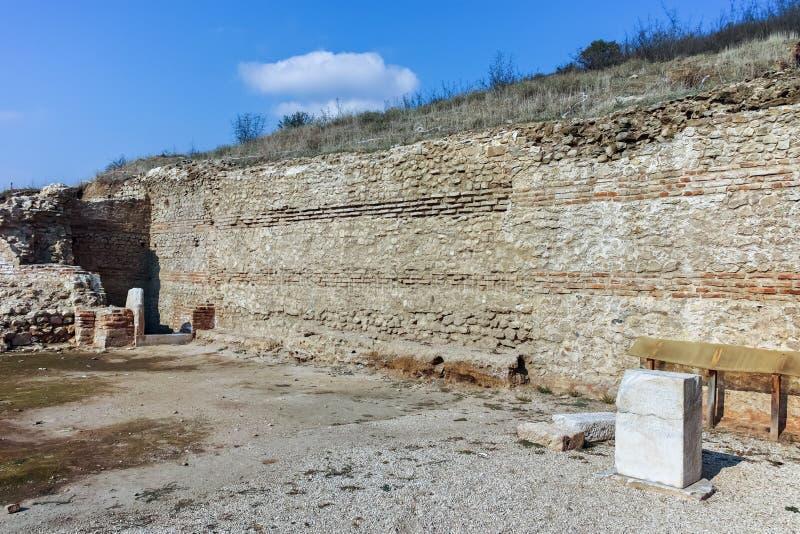 Ruinen der alten Stadt Heraclea Sintica - von Philip II von Macedon, Bulgarien errichtet stockbild