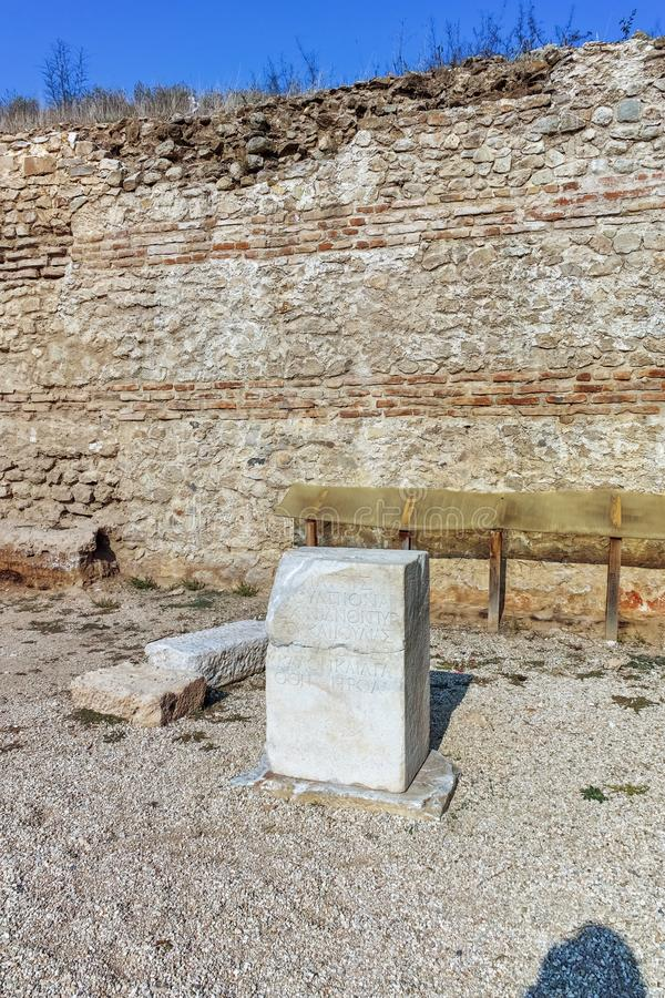 Ruinen der alten Stadt Heraclea Sintica - von Philip II von Macedon, Bulgarien errichtet stockfotografie