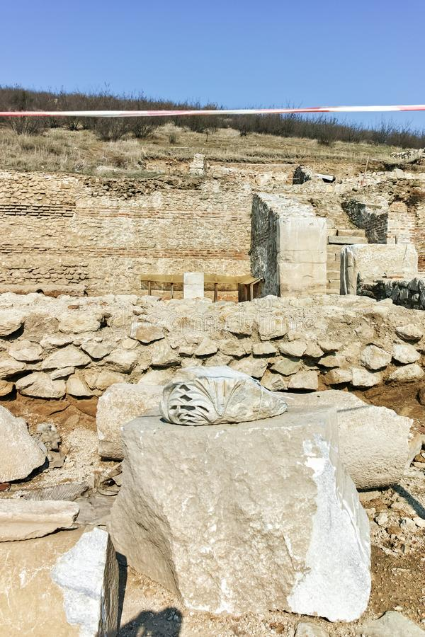 Ruinen der alten Stadt Heraclea Sintica - von Philip II von Macedon, Bulgarien errichtet lizenzfreies stockbild