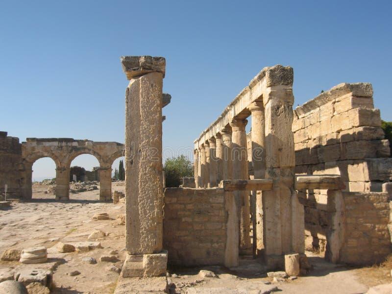 Ruinen der alten Stadt, Pamukale, die Türkei stockfotografie