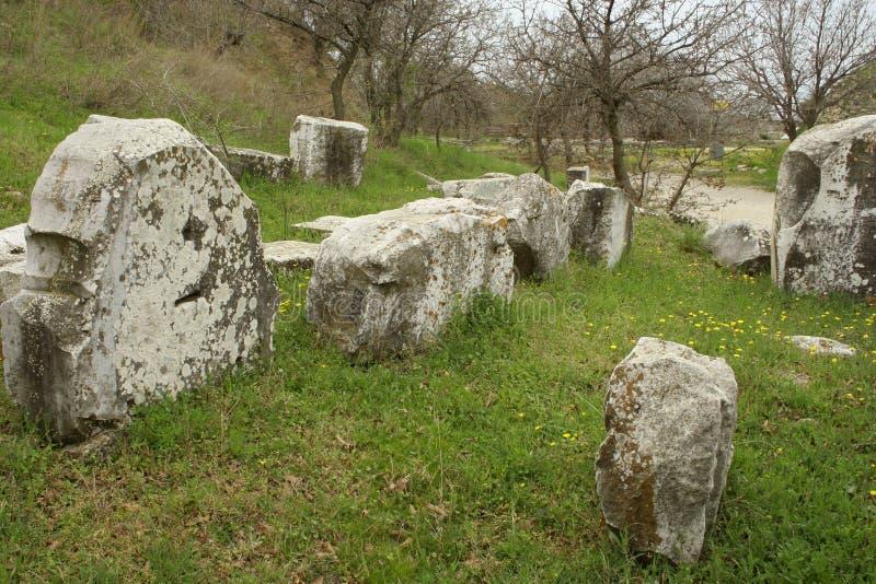 Ruinen der alten troy Stadt lizenzfreie stockbilder