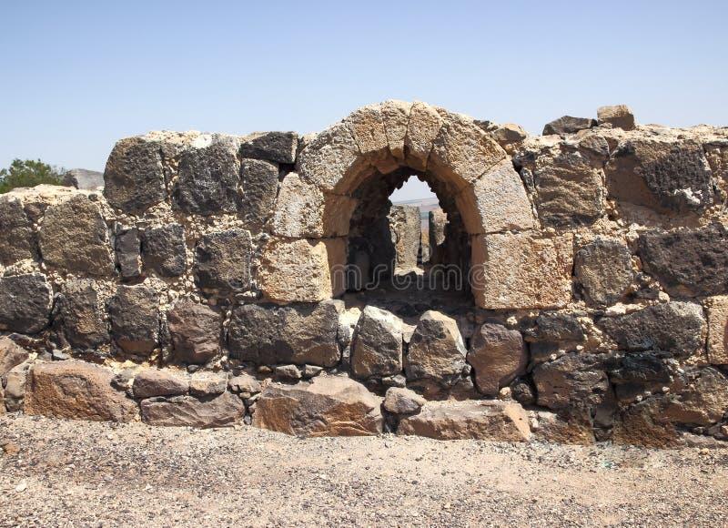 Ruinen der des 12. Jahrhundertsfestung des Hospitallers - des Belvoir - des Jordan Stars - in Jordan Star National Park nahe Aful stockfoto