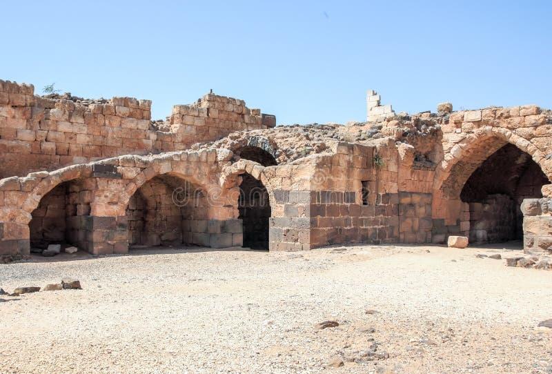 Ruinen der des 12. Jahrhundertsfestung des Hospitallers - des Belvoir - des Jordan Stars - in Jordan Star National Park nahe Aful stockbilder