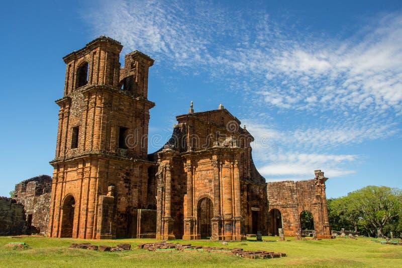 Ruinen der Kathedrale von Sao Miguel DAS Missoes stockfotos