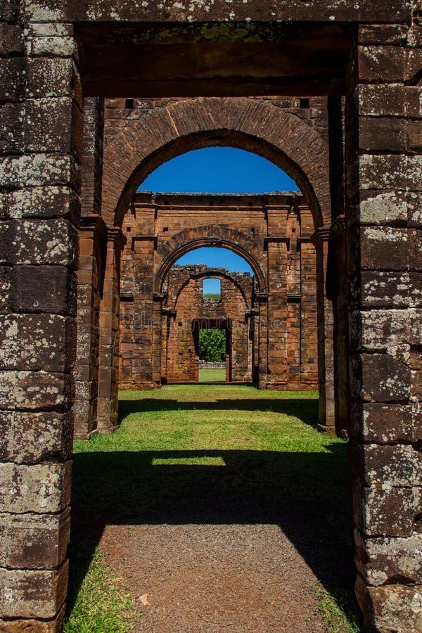 Ruinen der Kathedrale von Sao Miguel DAS Missoes stockbilder