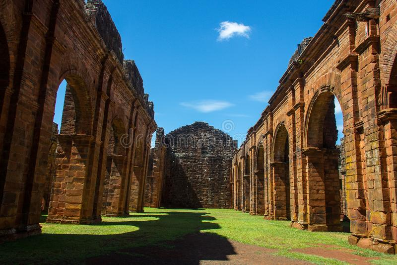 Ruinen der Kathedrale von Sao Miguel DAS Missoes stockfotografie