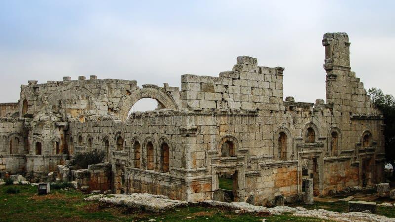 Ruinen der Kirche des Heiligen Simeon Stylites, Idlib Syrien stockfotografie