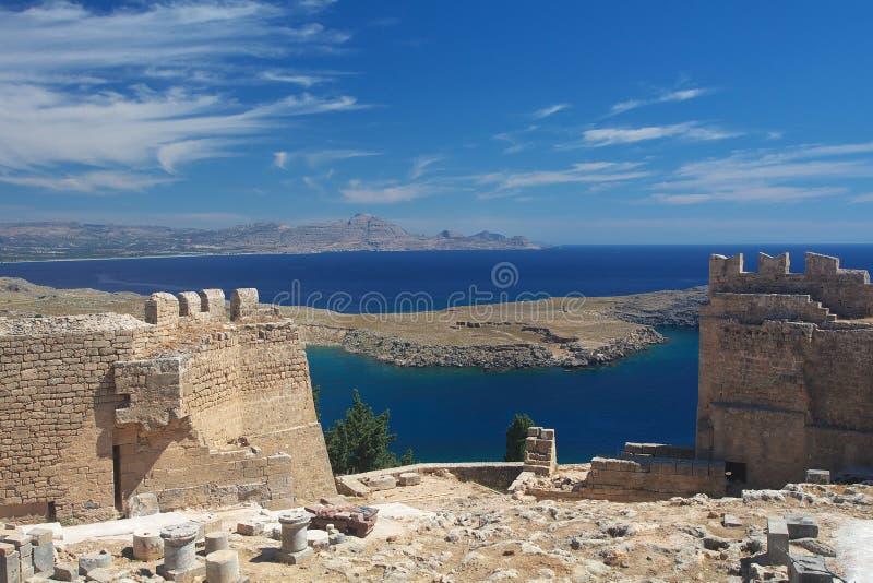Ruinen der Lindos Akropolises lizenzfreies stockbild