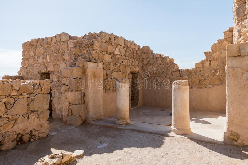Ruinen des alten Masada stockfotografie