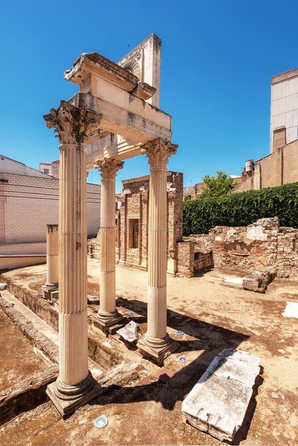 Ruinen des alten römischen städtischen Forums Augusta Emeritas von Mérida, Spanien stockfotos