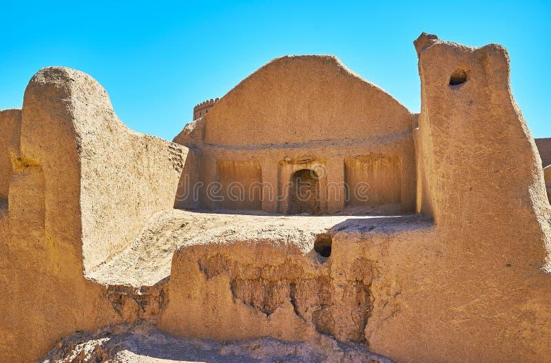 Ruinen des Hauses des luftgetrockneten Ziegelsteines, Rayen, der Iran stockbild