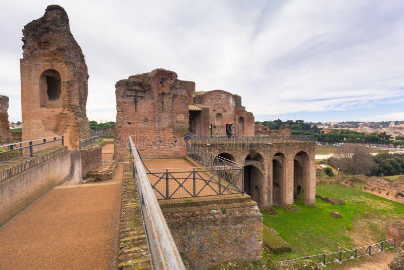 Ruinen des Hauses von Augustus auf dem Palatine in altem Rom, Italien stockbilder
