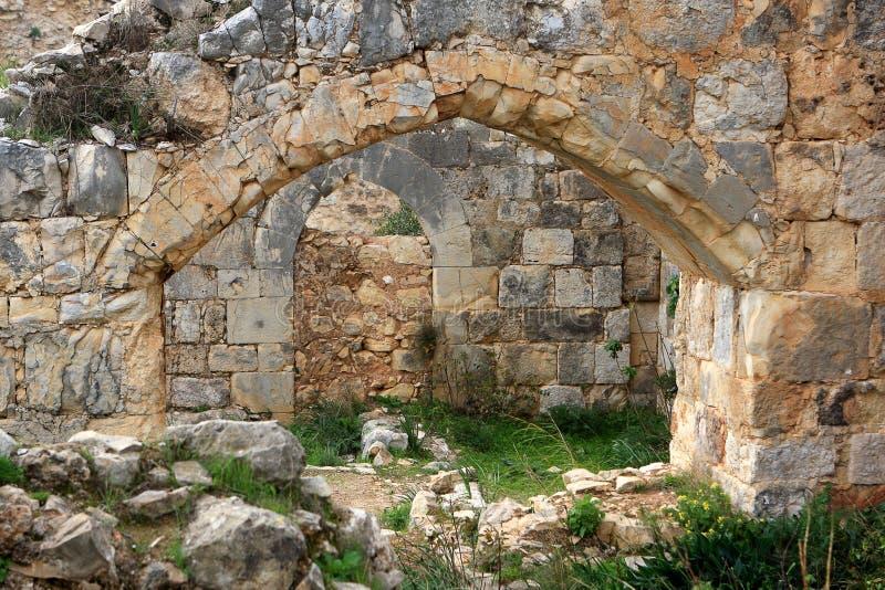 Ruinen des Montfort Schlosses, Israel stockbilder