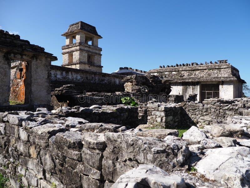 Ruinen des Palastes an der alten Mayastadt von Palenque in Mexiko stockfotografie