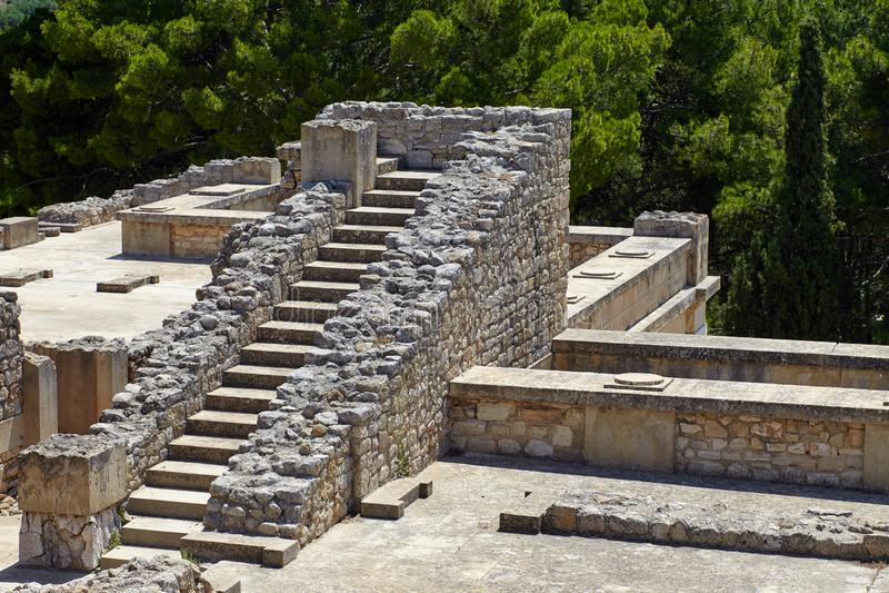 Ruinen des Palastes von Knossos Berühmte archäologische Anziehungskraft Die bedeutende Stadt von altem Kreta, Mitte des Minoan stockbild