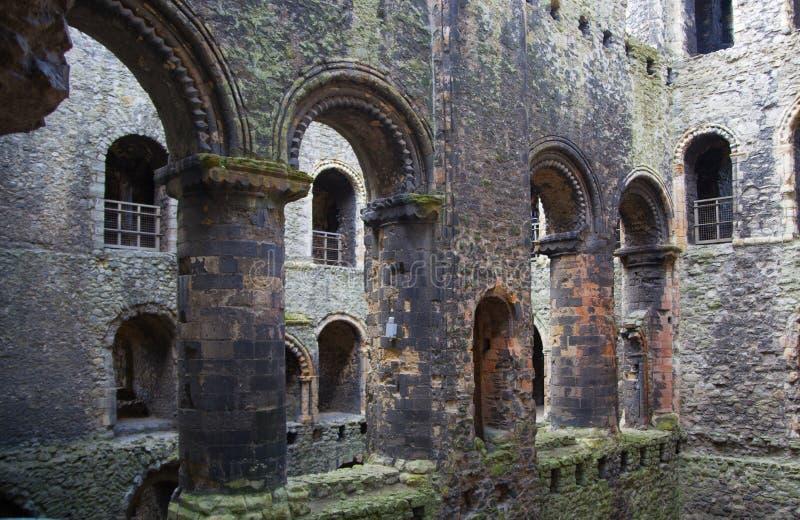 Ruinen des Rochester-Schloss12. jahrhunderts Schloss und Ruinen von Verstärkungen Kent, Südost-England stockbild