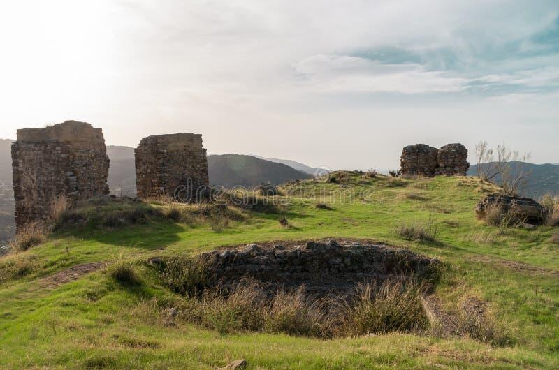 Ruinen des Schlosses von ZaÃda, AlcaucÃn, MÃ-¡ laga lizenzfreie stockbilder